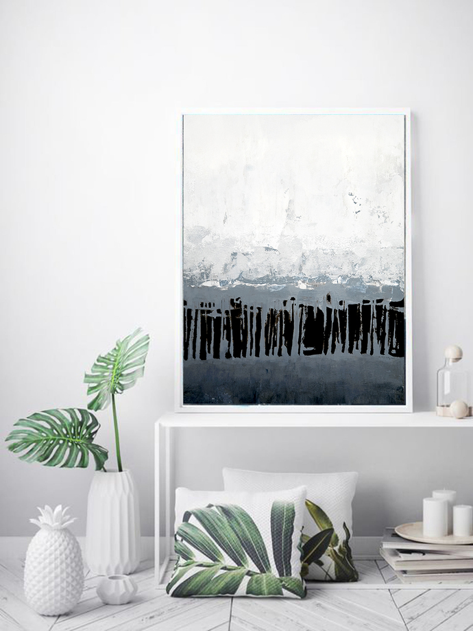 Abstract Art Print Blue white black, Printable Art, Minimalist abstract light