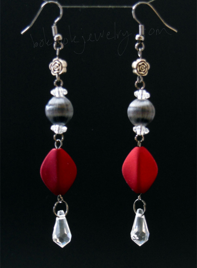 Handmade Red and Grey Long Dangle Earrings