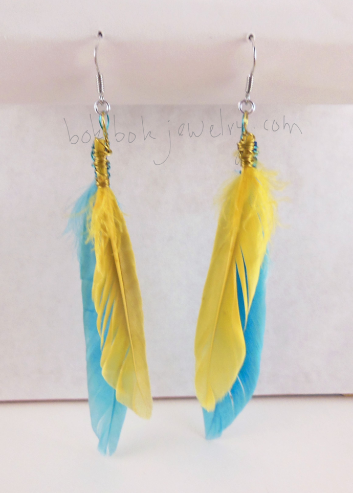 Handmade Colorful, Long Feather Earrings