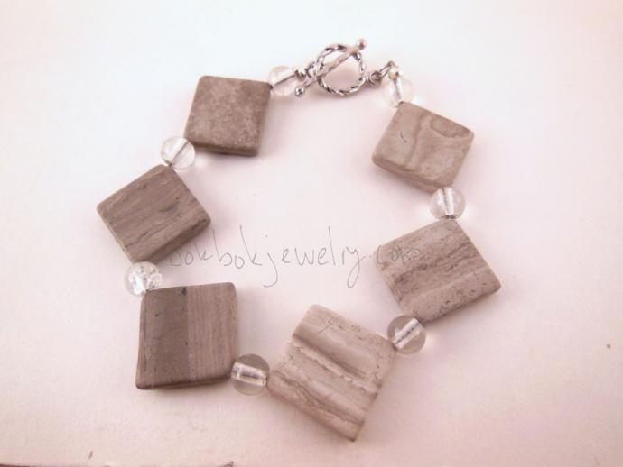 Gray Beaded Stone Bracelet