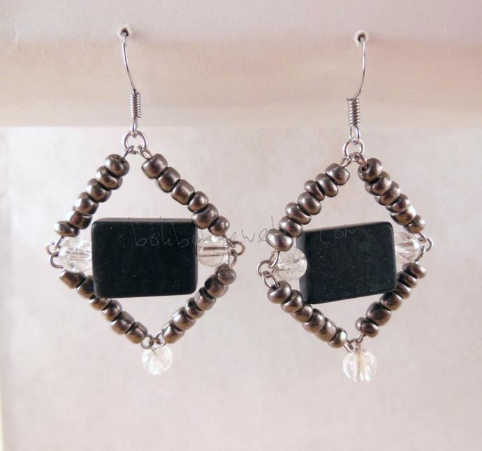 Gray Diamond-Shaped Earrings
