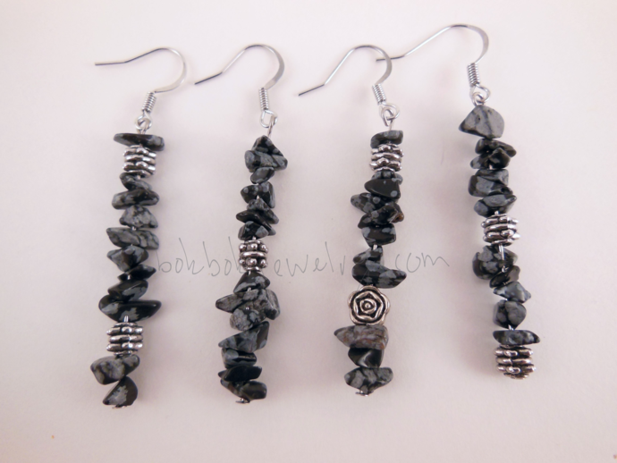 Handmade Asymmetrical Obsidian and Silver Earrings