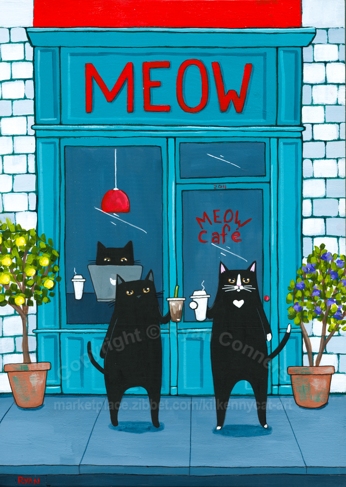 Grabbing Coffee at the Meow Cafe Original Cat Folk Art Painting