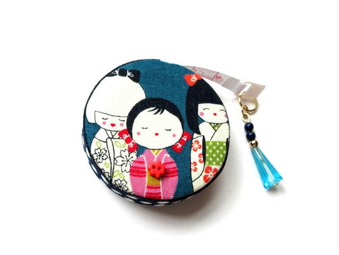 Measuring Tape Japanese Kokeshi Dolls Retractable Small Tape Measure