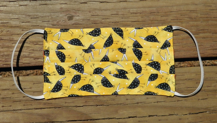 Crows on Yellow Cotton Face Mask, Size Small  Adult, Reversible, Ready to Ship