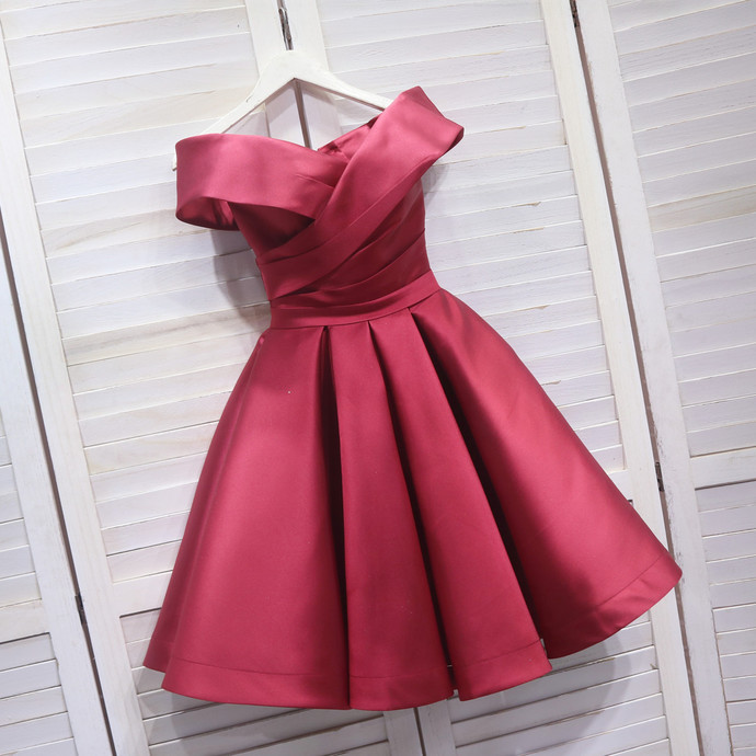 Lovely Dark Red Off Shoulder Satin Bridesmaid Dress, Sweetheart Homecoming Dress