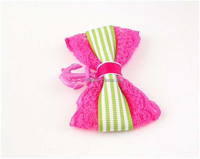 Anchors Away Cute Bow Tie for Cats, Pink, Green, Small Pet Accessories, Summer
