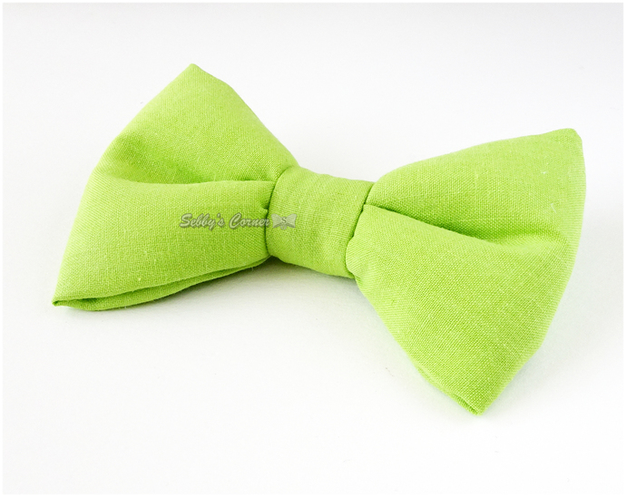Lime Green Cotton Bow Tie for Cat, Slide on, Removable, Elastic