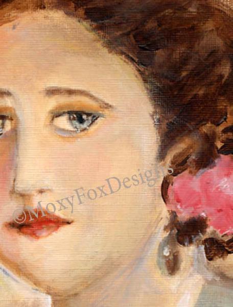 SHE WAS A LADY, Portrait, Irish, Ireland, Red Hair, Grey Eyes, Earings, Pink