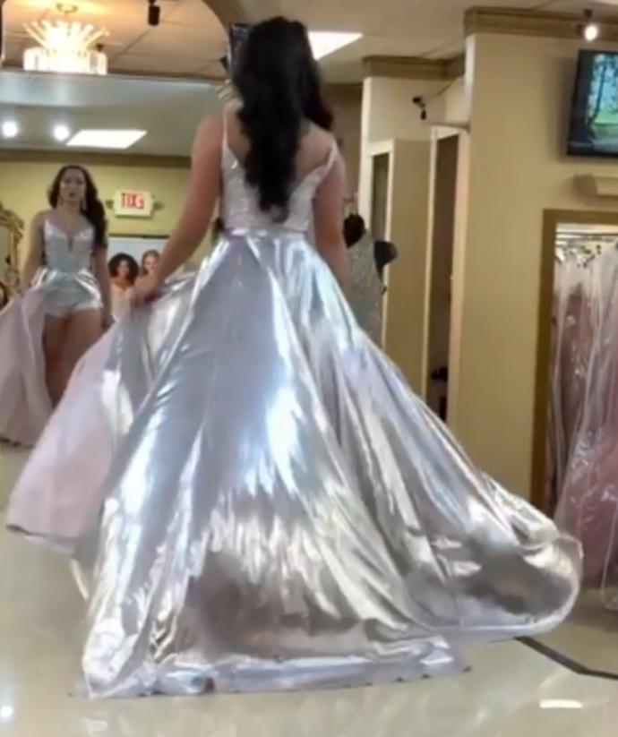 Elegant V-Neck A-Line Prom Dresses,Long Prom Dresses,Cheap Prom Dresses, Evening