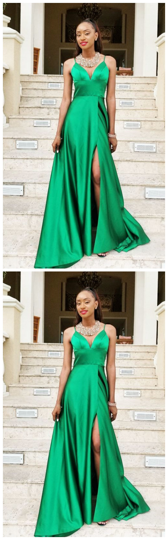 Green Prom Dresses, Long Prom Dress with Split, Simple Prom Dresses