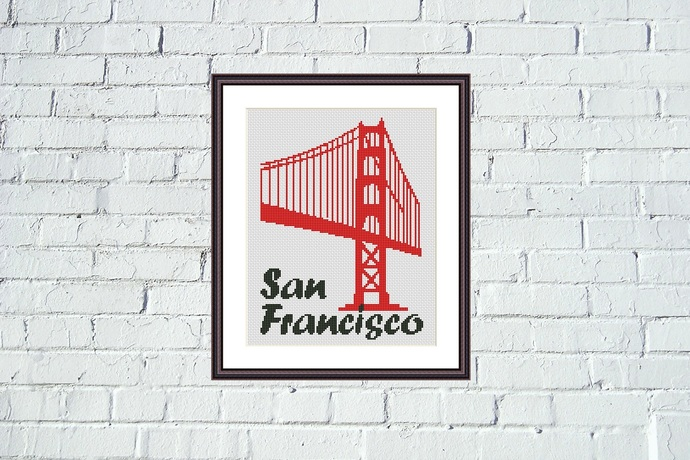 San Francisco Golden Gate bridge cross stitch pattern
