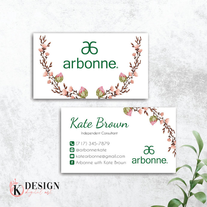 Floral Arbonne Business Card, Personalized Arbonne business card, Arbonne AB43