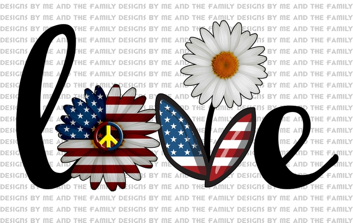 Love daisy solid, Love red white and blue, love American flag, Peace love daisy,