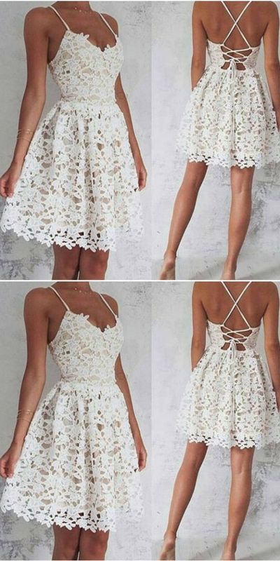 Spaghetti Straps Homecoming Dress,Lace Homecoming Dresses M080