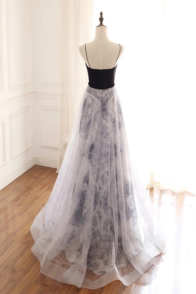 Black Long Floral Straps Sweetheart Prom Dress, Beautiful Wedding Party Gown