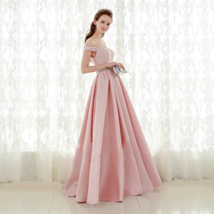 Pink Off Shoulder Sweetheart Satin Beaded Long Evening Dress, Pink Satin Prom
