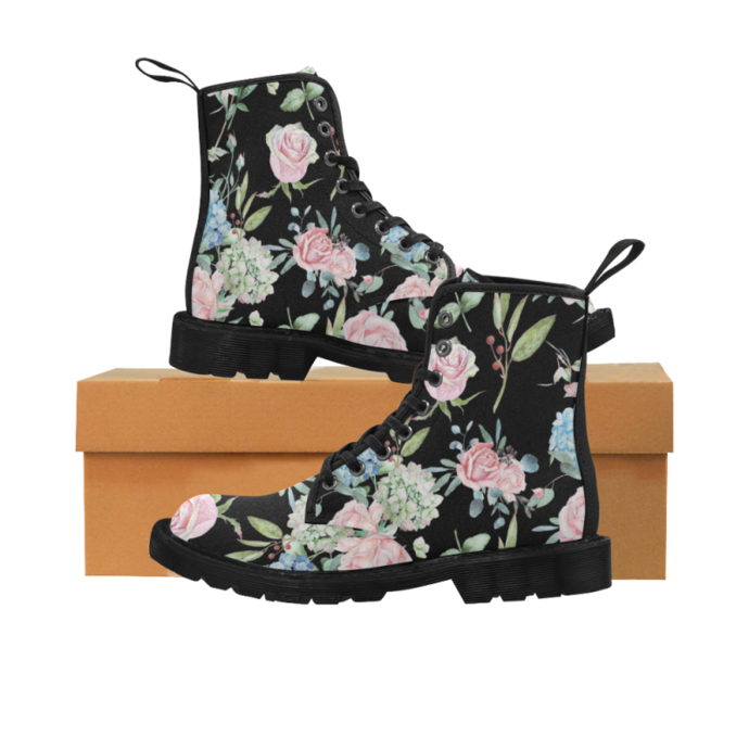 Floral Watercolor Martin Boots For Women, Floral Women's Boots