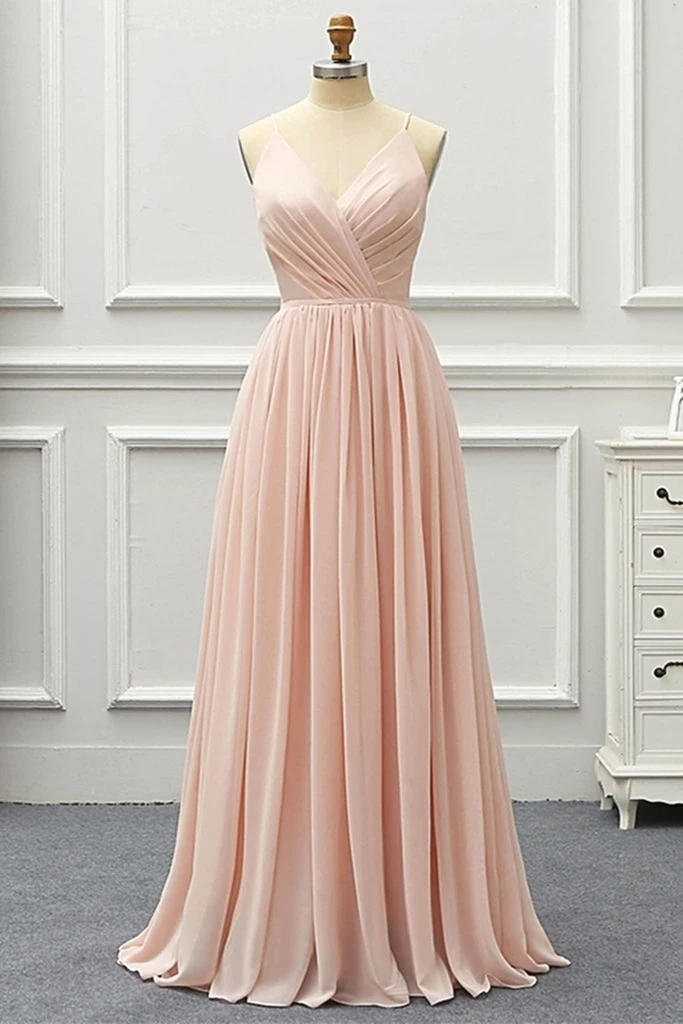 Beautiful A Line V Neck Pink Long Prom Dress,Chiffon Long Evening Dress