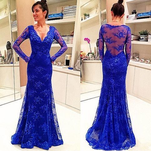 long sleeve evening dresses 2020 mermaid royal blue Lace Applique modest formal