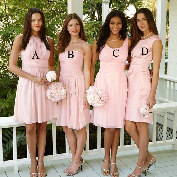 2020 mismatched bridesmaid dresses short pink chiffon cheap custom wedding party