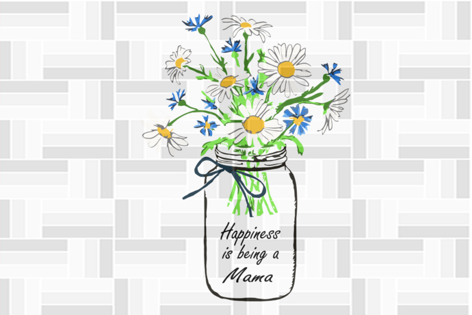 Happiness is being a mama, flower svg, mama svg, mama gift, family svg, family