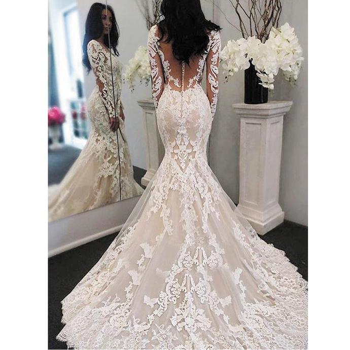 vestido de novia de seria mermaid wedding dresses for bride lace applique