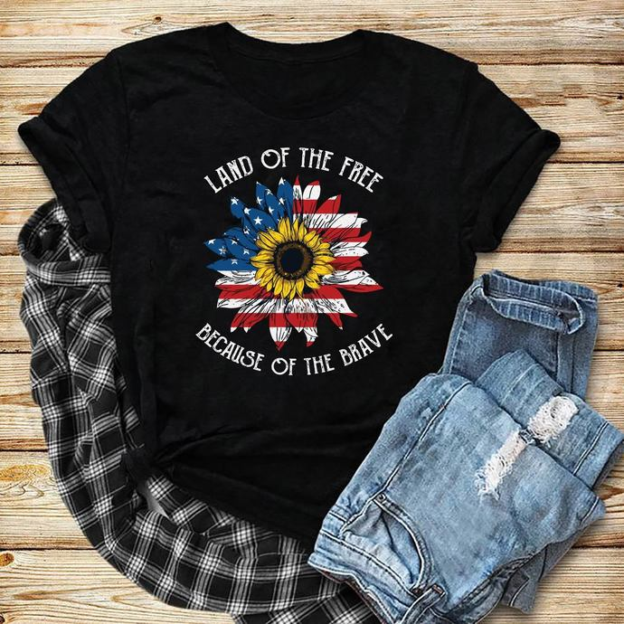 Land Of The Free Because Of Brave svg, Sunflower American flag svg, Sunflower