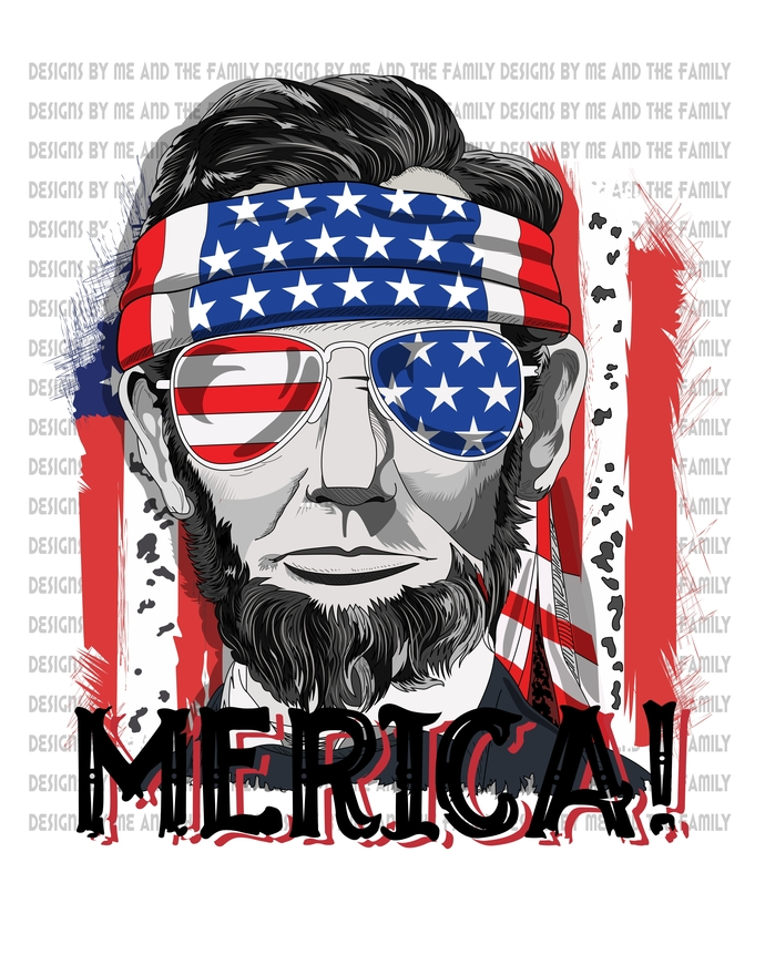 'Merica, Red white & blue, America, Abe Lincoln, Honest Abe, 4th of July, Cool