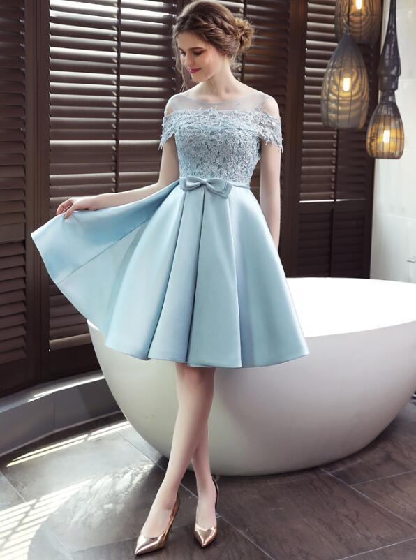 Blue Satin and Lace Off Shoulder Homecoming Dress, Short Prom Dress