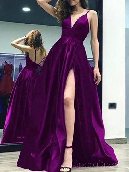 Sexy Side Slit Backless Spaghetti Straps A-line Long Evening Prom Dress M177
