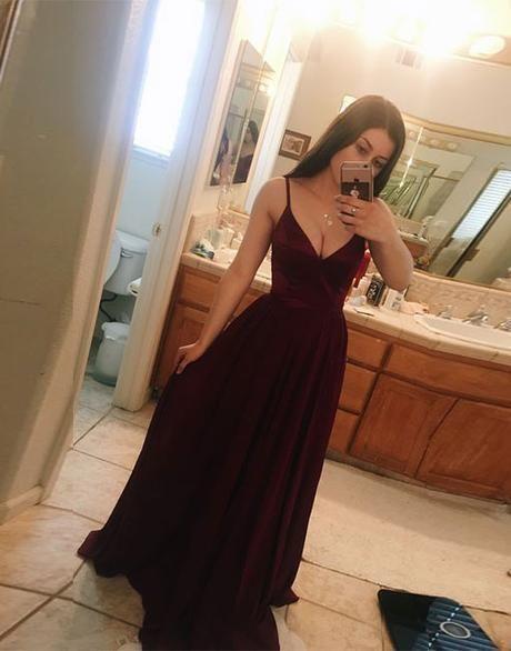 Beautiful Burgundy Straps Long Prom Dress  M179