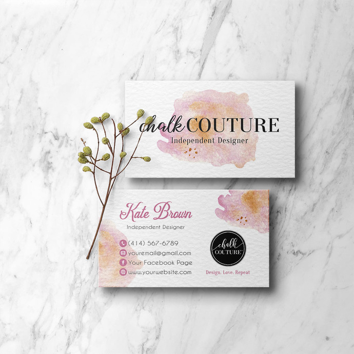 Pink Watercolor Chalk Couture Business Cards, Chalk Couture Independent Designer