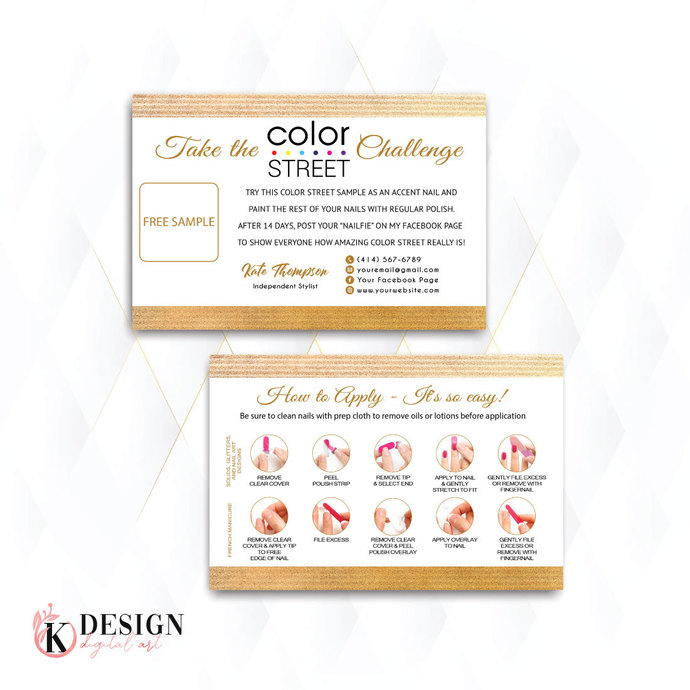 Gold Personalized Color Street Twosie Card, Color Street Challenge Card CL54