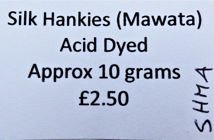 Hand Acid Dyed Silk Hankies - Mawata – approximately 10 grams 100% Silk  SHM4