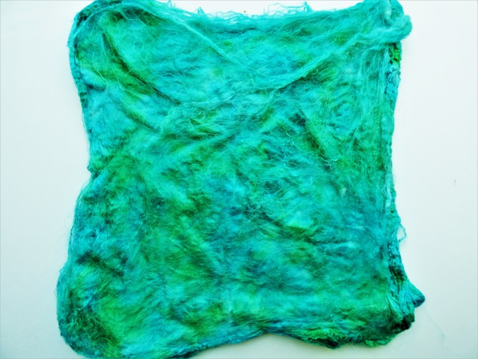 Hand Acid Dyed Silk Hankies - Mawata – approximately 10 grams 100% Silk  SHM5