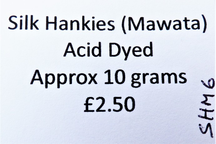 Hand Acid Dyed Silk Hankies - Mawata – approximately 10 grams 100% Silk  SHM6