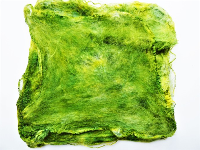 Hand Acid Dyed Silk Hankies - Mawata – approximately 10 grams 100% Silk  SHM8