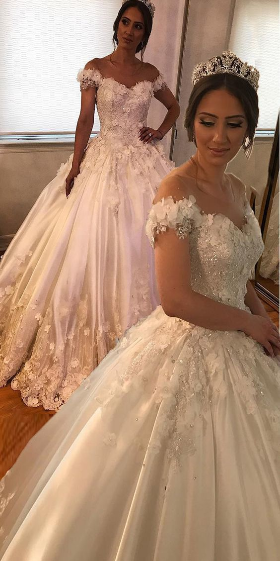 boho wedding dresses for bride off the shoulder Lace Applique floral beaded