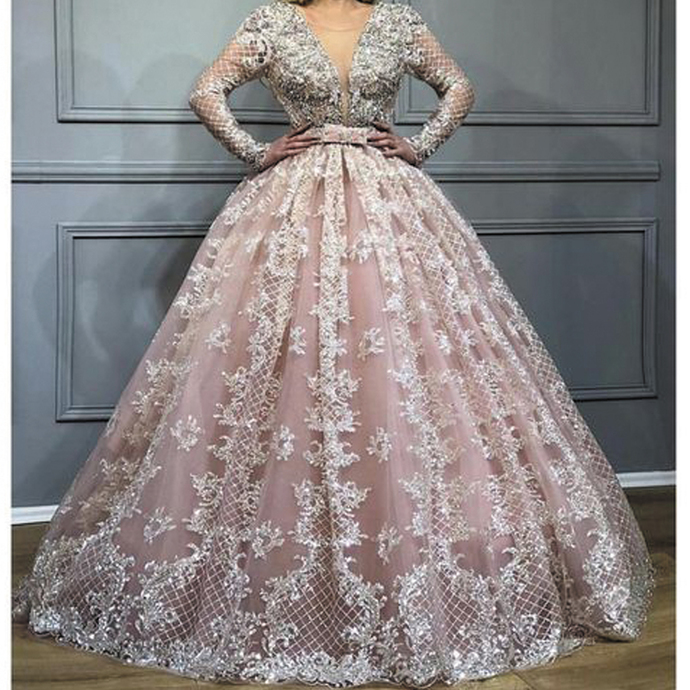 luxury ball gown prom dresses long sleeve pink lace applique beaded crystals