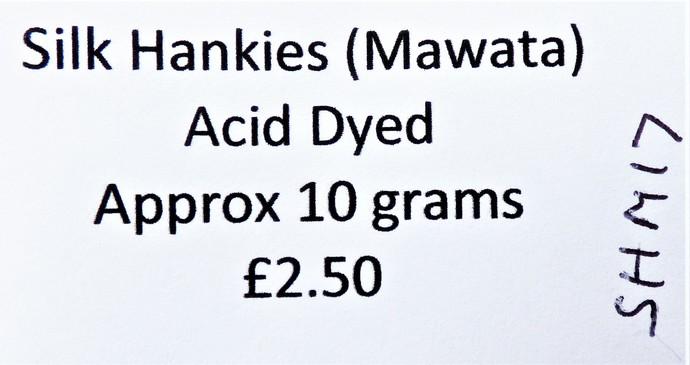 Hand Acid Dyed Silk Hankies - Mawata – approximately 10 grams 100% Silk  SHM17