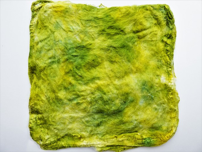 Hand Acid Dyed Silk Hankies - Mawata – approximately 10 grams 100% Silk  SHM20