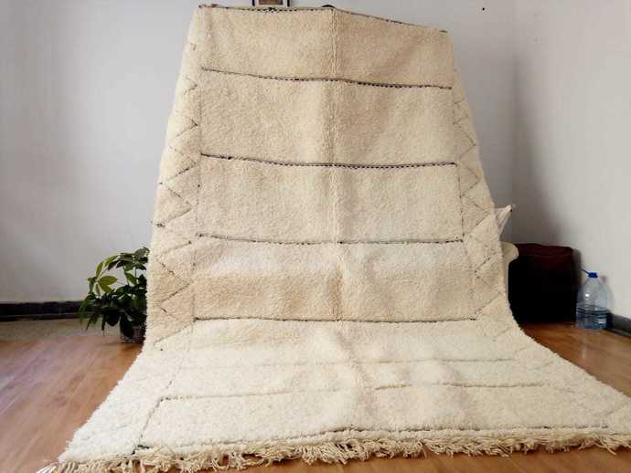 Berber carpet - Beni Ourain Tribal Rug Style- Shag Pile - Wool - Moroccan Rug -