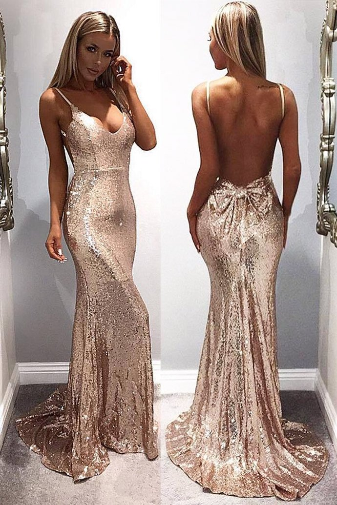 rose pink evening dresses long mermaid backless sexy formal evening gown vestido
