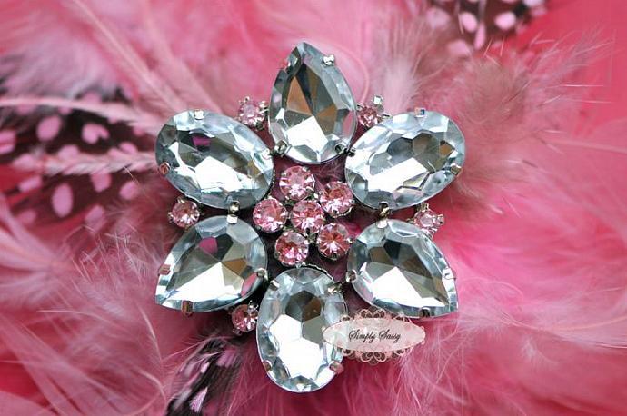 RD113 BIG CLEAR Rhinestone Embellishment Button Brooch - wedding accessories