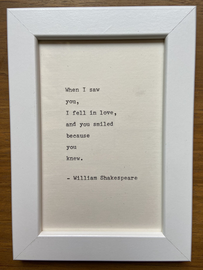 """NEW! Framed 6x4"""" literary quote - Shakespeare (or a quote of your choice)"""