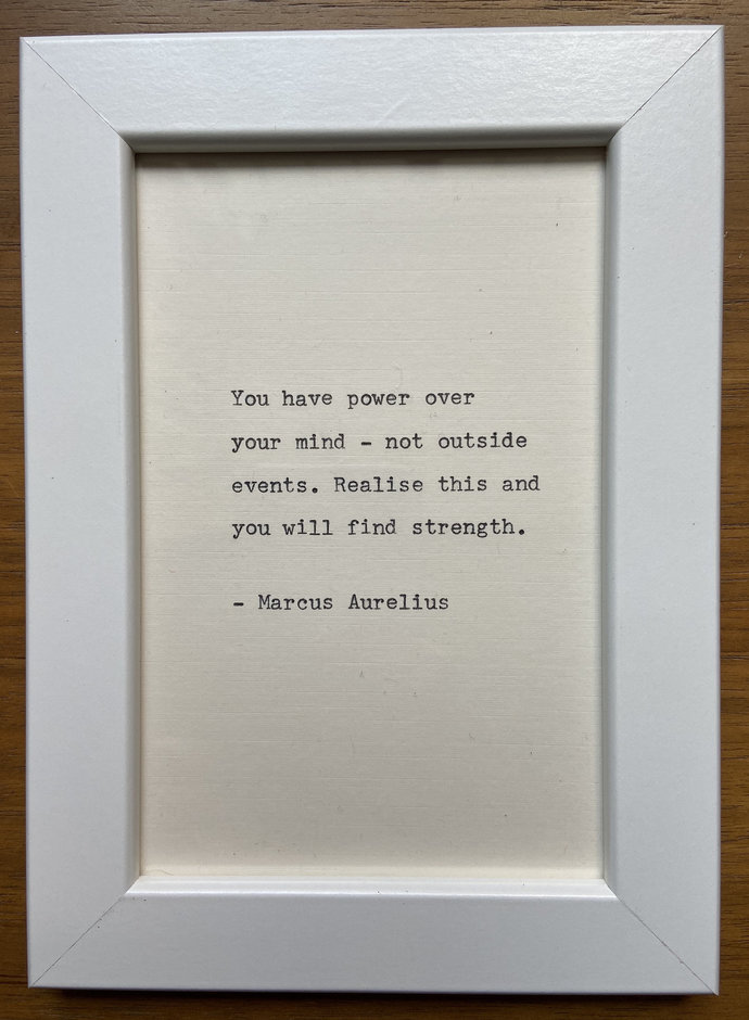 """NEW! Framed 6x4"""" literary quote - Marcus Aurelius(or a quote of your choice)"""