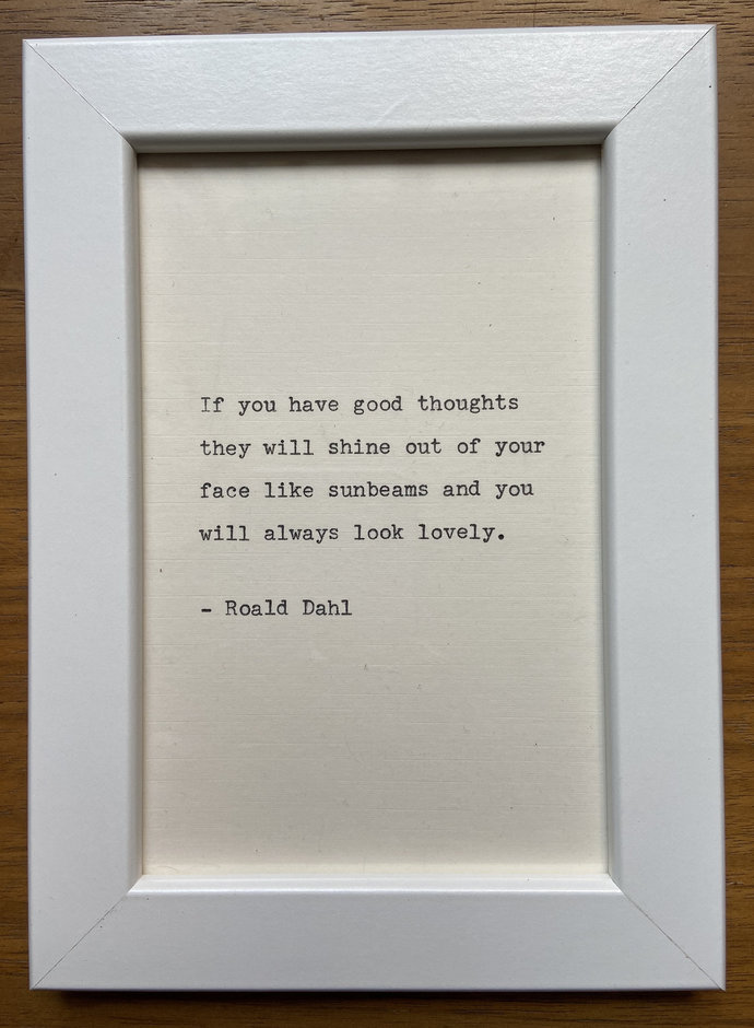"NEW! Framed 6x4"" literary quote - Roald Dahl (or a quote of your choice)"