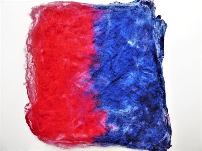 Hand Acid Dyed Silk Hankies - Mawata – approximately 10 grams 100% Silk  SHM22