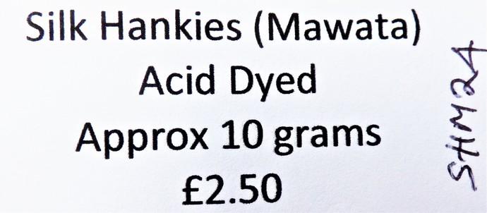 Hand Acid Dyed Silk Hankies - Mawata – approximately 10 grams 100% Silk  SHM24